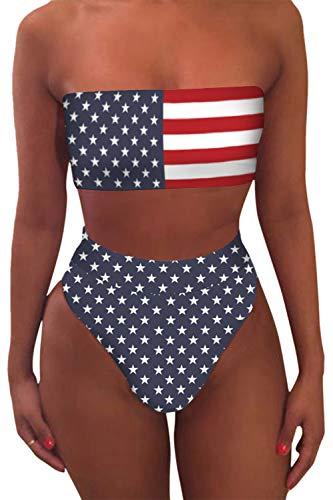 Viottiset Bandeau Top Damen Bikini Set High Waist Badeanzug mit Abnehmbare Träger XL American Flag