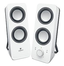 Logitech Z200 2.1 Lautsprecher mit Subwoofer (Surround Sound, 10 Watt Spitzenleistung, 2x 3,5mm Eingänge, Lautstärken-Regler, PC/TV/Smartphone/Tablet) weiß