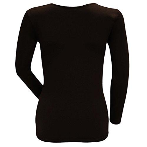 Palleon Damen Pullover Langarmshirt mit Wärmendem Innenfleece Braun