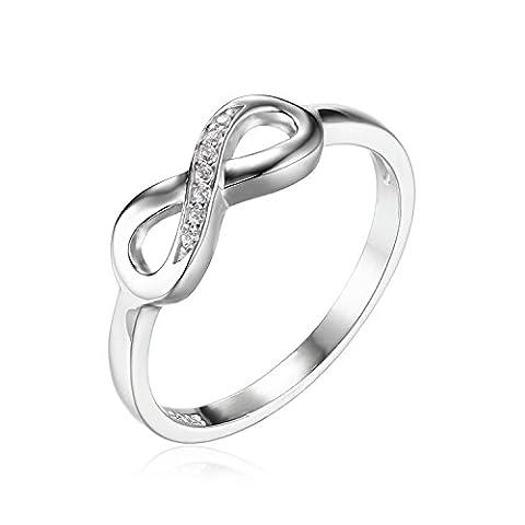 JewelryPalace Infinity Für immer Liebe Zirkonia Jahrestag Ring Vertrauensring Damen-Ring 925 Sterling Silber Größe 51 to 59