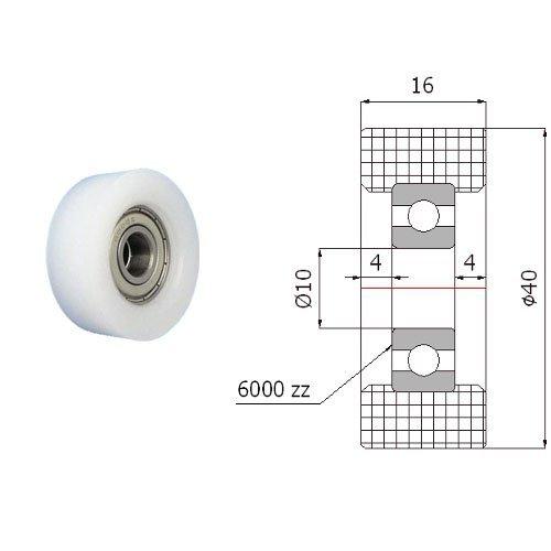 Zabi Einfache Kunststoff-Rollen Nylon mit Kugellager Ø 40mm