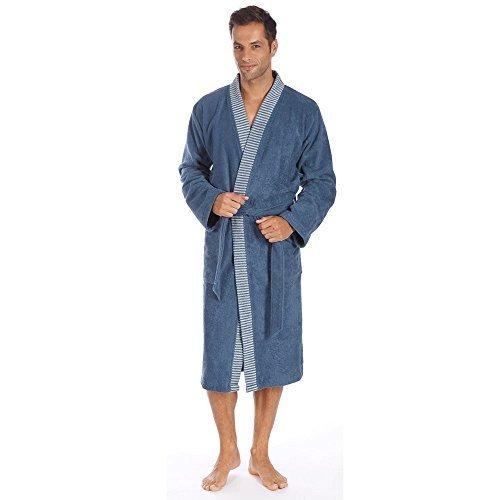 Egeria Bademantel Saunamantel Kimono 100% Baumwolle, 360 g/m² Bruno Herren Slate Grey L Blue Rock Herren