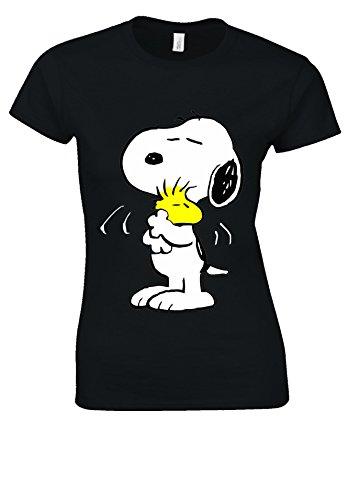 Snoopy PEANUTS Cartoon Happy Cute Black Women T Shirt Top-XXL