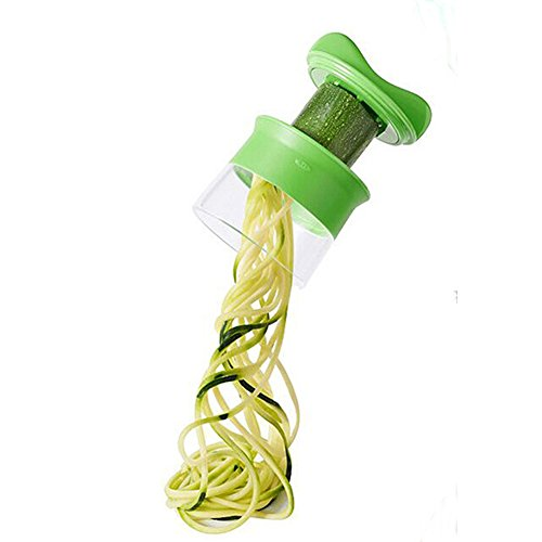 Mini Küchenmaschine Premium Klein Spiralschneider Hand für Gemüsespaghetti Kartoffel BÜNDEL Kochbuch mit die Bürste für die Reinigung-Zucchini,Gurkenschneider,Gurkenschäler,Möhrenreibe,Möhrenschäler,Gemüsehobel Grün - 2