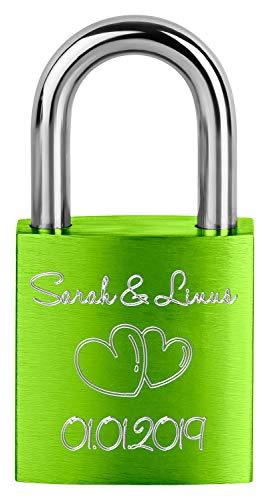 Liebesschloss ♥ Vorhängeschloss mit individueller Gravur - 1 Schlüssel - inkl. Samtsäckchen (grün)