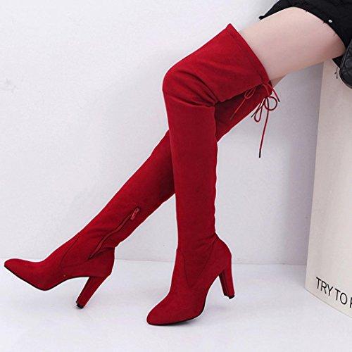 High Heels Stiefel für Frauen, cinnamou Stretch Faux schlanke hohe Stiefel - Über den Knien Stiefel (42, Rot) (Knie-hohe Turnschuhe)