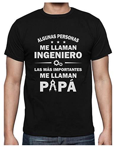 Camiseta para Hombre - Regalos para Ingenieros, Regalos para Hombre, Regalos para Padres. Camisetas Hombre Originales Divertidas - Algunos me Llaman Ingeniero los Más Importantes Papá - X-Large Negro