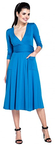 Zeta Ville - Damen Empire-Taille Wickeldesign Kleid 3/4 Ärmel V-Ausschnitt- 630z Cyan