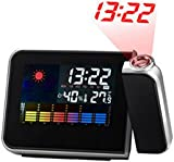 Digital Projection Clock, Hangrui Projection Alarm Clock Backlight LCD With Indoor Temperature,Snooze,USB Charging Port, Black
