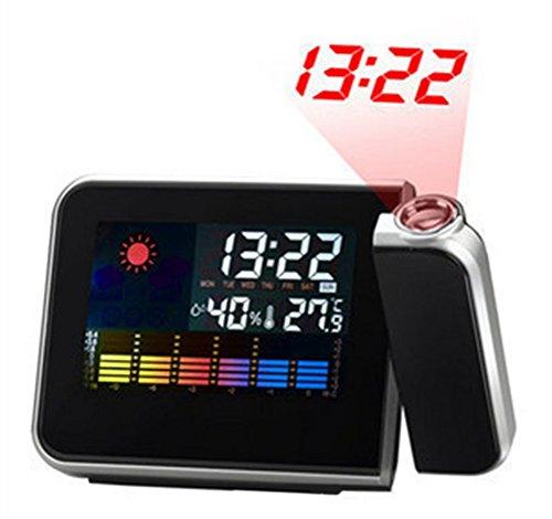 Hangrui Digital Projektion Uhr, Projektion Wecker Hintergrundbeleuchtung LCD mit Innen Temperatur, Schlummerfunktion, USB Ladeanschluss, schwarz