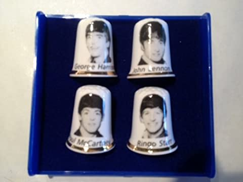 The Beatles Set of 4 Collectable Fine Bone China Thimbles - Made in Stoke-on-Trent