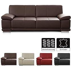 CAVADORE 3-Sitzer Sofa Corianne / Echtledercouch im modernen Design / Mit Armteilverstellung / 217 x 80 x 99 / Echtleder dunkelbraun