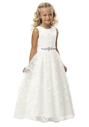 Izanoy Mädchen Lange Spitze Blumenmädchen Kleid Heilige erste Kommunion Kleid Beige Eins 10