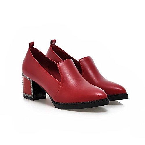 AllhqFashion Femme Pointu à Talon Correct Matière Souple Couleur Unie Tire Chaussures Légeres Rouge