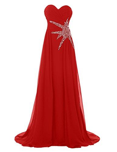 Bbonlinedress Robe de cérémonie Robe de demoiselle d'honneur bustier en cœur longueur ras du sol Rouge