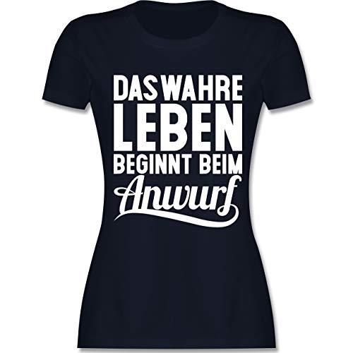 Handball WM 2019 - Das wahre Leben beginnt beim Anwurf - S - Navy Blau - L191 - Damen T-Shirt Rundhals