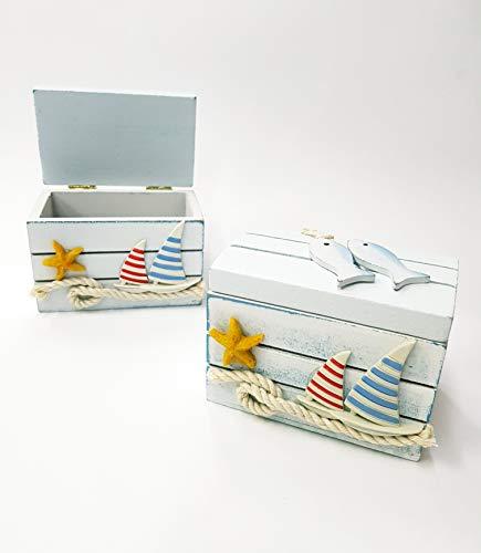takestop - Caja de 10 x 7 x 6 cm, para Barco, Carrera o Pescado, Color Blanco, Estilo Shabby Chic, decoración de Estilo Marinero