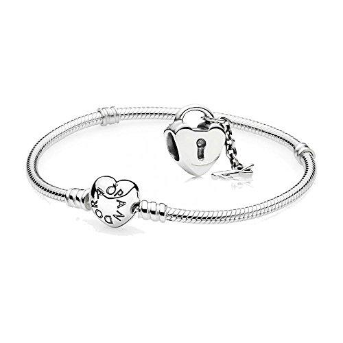 Original-Pandora-Geschenkset-1-Silber-Armband-mit-Herz-Schliee-590719-und-1-Silber-Charm-Schlssel-zu-meinem-Herzen-790971