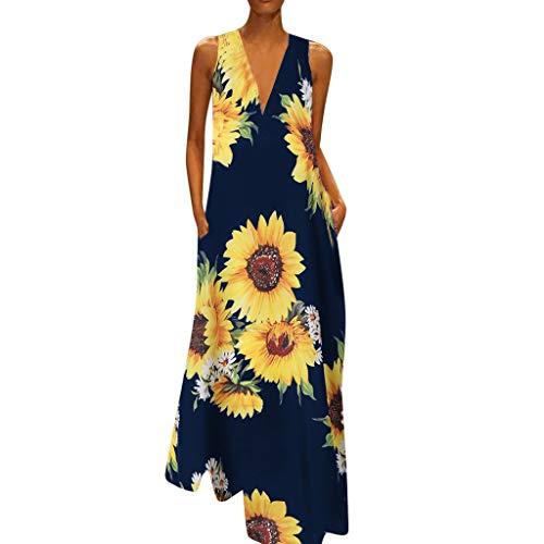 MAYOGO Kleid Damen Sommer Lang Elegant Schick Große Größen Ärmellose Maxikleid Schmetterling Muster Casual Cool Leichte Kleider mit Tasche S-5XL - Kleinkind-linie Kleid Muster