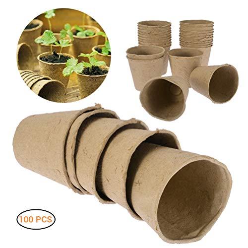 Faviye 100 macetas de Cultivo biodegradables, Redondas, para Interior y Exterior