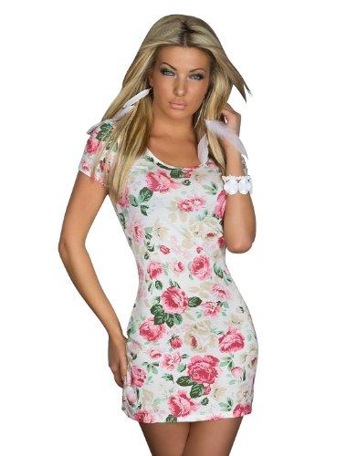 5747 Fashion4Young Damen Kurzarm-Minikleid mit Blumen-Muster Kleid dress verfügbar in 4 Farben (Weiß (Muster Gogo Kleid)