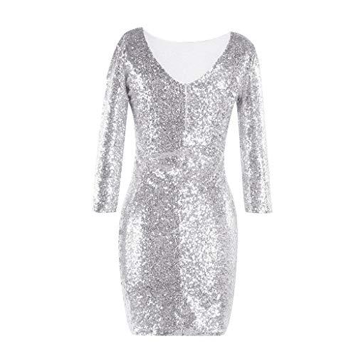 iYmitz Damen Glitzerndes Rundausschnitt Paillettenkleid Abend Minikleid Glam Pailletten Langarm Flapper Kleid(A-Silber,EU-38/CN-L)
