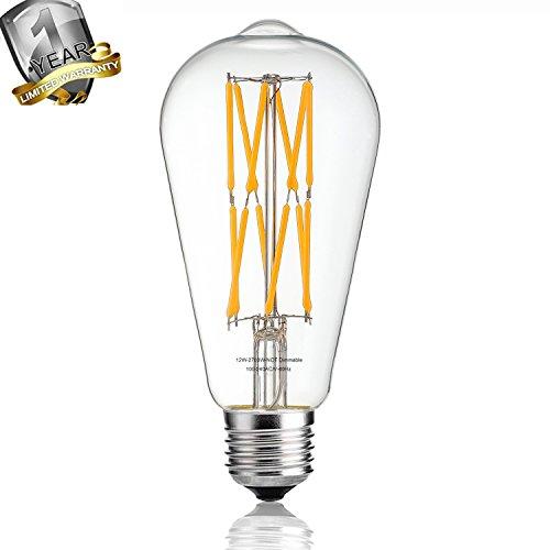 Leools lampadina Edison LED 12 W 2700 K bianco caldo 1200LM, equivalente a 100 W E27 Medium base, ST64 vintage lampadine filamento LED, angolo di diffusione 360 °, non dimmerabile, confezione da 1 Warm White