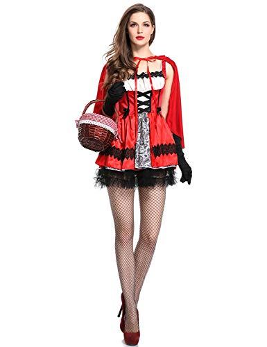 RIBIKA Rotkäppchen mit Kapuze für Großmutter für Kleine Mädchen, Uniform für Halloween, Kuchen