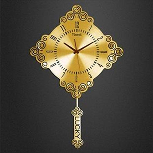 Waduo Europäischer Stil einfaches Wohnzimmer Uhrenkunst Glocken hängende Glocke ruhige Glocke Uhr Glocken große Persönlichkeit Pendel Uhr -by Virtper (Farbe : Gold)