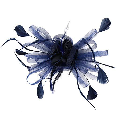 Stirnband mit Feder 20er Jahre Stil Haarband Gatsby Kostüm Accessoires(Marine,One size) ()