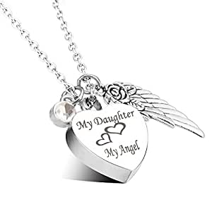 Engraved personalised cremation urn jewellery my daughter for Father daughter cremation jewelry