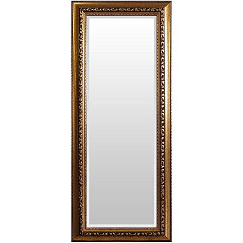 WOHAGA® Garderobenspiegel, elegant verziert, Facettenschliff, 140x60cm, Goldfarben  Flurspiegel Barspiegel Frisierspiegel Spiegel Wandspiegel