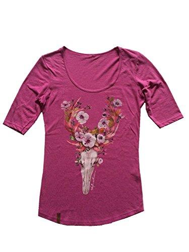 Damen T-Shirt, 1/2 Langarmshirt, Trachtenshirt, Hirsch, Strass, Swaroski Flower Deer Beere (XXL)