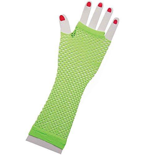 (Green Lange Fischnetz Handschuhe Erwachsene - Pop-Diva der 1980er Jahre lange Netz-Handschuhe in zarten Grün)