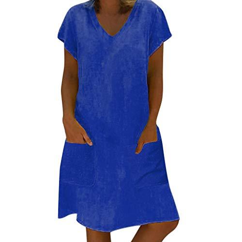 Cebbay - Mujer Verano Damas de Vestir Vestido de Talla Grande Camiseta de algodón y Vestido de Lino...