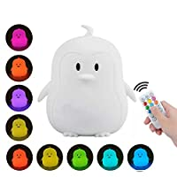 LED Night Lights for Kids: Cute Animal Silicone Baby Night Light with Touch Sensor and Remote Rechargeable 9 Colors Light for Baby Bedroom, Nursery, Birthday Gift