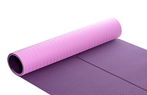Timberbrother Esterilla de Yoga / Esterilla de TPE Respetuosa con el medio ambiente para Pilates, Gimnasio, Yoga, Ejercicio / Medidas: 183cm x 70cm x 6mm de grosor (Morado oscuro + Rosa)