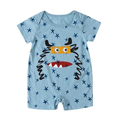 LABIUO 6-18 Monate Babykleidung, Neugeborenes Baby Kurzarm Karikaturdruckspielanzug Baby Schlafanzug(Hellblau,9-12Monate/80)