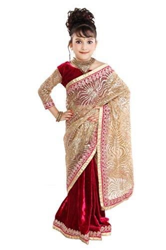 Pratima Girl's Fashionable Half Velvet Half Glitter Net Rani Ready to wear...