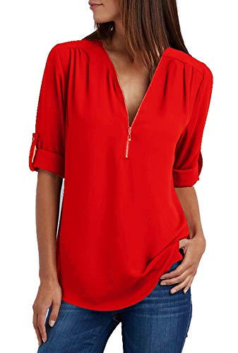 Damen Chiffon Blusen Elegante Reißverschluss Kurzarm Bluse Tunika Oberteile T-Shirt V-Ausschnitt Tops A Rot L - Pullover Mit V-ausschnitt T-shirt Top