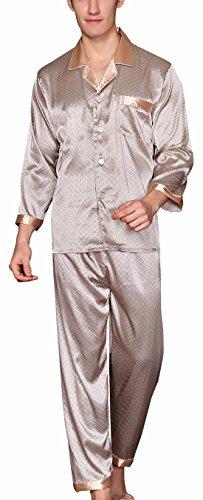 Yanqinger 1 Paire de Pyjama Hommes Pantalon de Pyjamas Soie Manches Longues Vêtements de Loisir Col Chemise Polyester Beige - L
