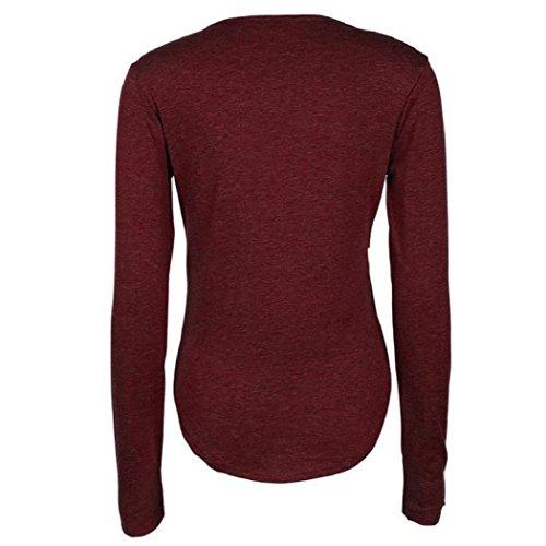 Donne Camicetta,EUZeo donne o-collo solido sciolto maniche lunghe top camicetta camicia casual Cotton T-Shirt Vino rosso