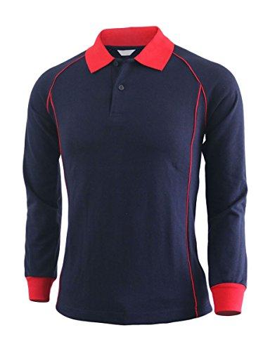 BCPOLO Casual unisex Sport einzigartiges Design Langarm-Poloshirt-Navy XXL (Blau Langarm-uniformhemd)