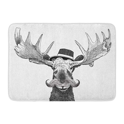 dingjiakemao Doormats Bath Rugs Mat Hipster Moose Large Mustache and Cool Hat Fun Hip Antlers Cartoon Character Cute Wildlife Creative Rug 23.6
