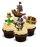 NOVELTY Pirat MIX Boy'Kinder Geburtstag Party, Essbar, 12 Standup Premium Kuchen-Deko, Vorgeschnitten, Essbar