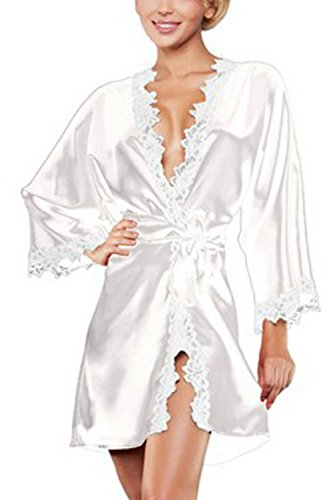 Manga Larga Kimono Batas Raso Seda Ropa Dormir Mujer