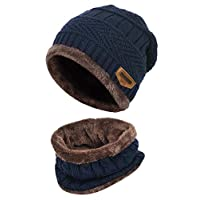 K.tchard Kids Winter Beanie Hat and Circle Scarf Set Thick Warm Ski Knitted Fleece Lined Skull Cap 2-8 Years