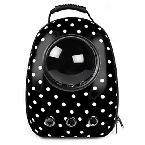 ZANGAO Hochwertiger Fenstertransport mit atmungsaktiver Reisetasche Luftblasen-Astronauten-Haustier-Hunderaumkapsel-Katzenträger-Rucksack (Color : Dot Black, Size : M) -