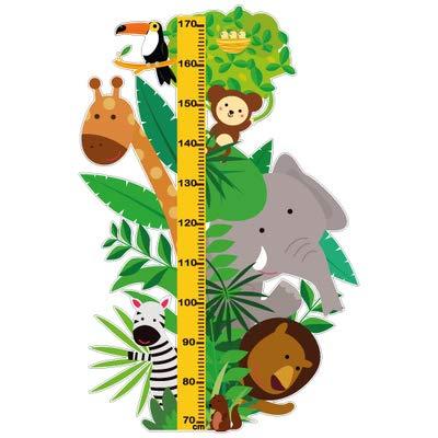 Sticker Toise - Animaux de la Savane - Aspect Brillant - Adhesif Permanent