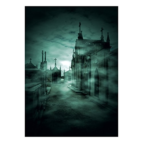 Uonlytech 90 * 150 cm 3D Halloween Gruselige Kulisse Creepy Spukhäuser Horror Nacht Hintergrund für Parteien Fotografie Studio Photo Booth (DZ-751)